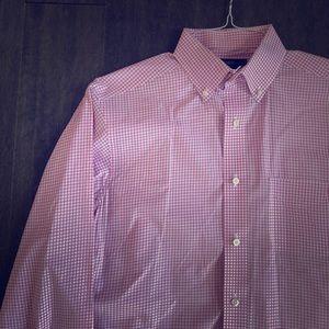 Men's LS Pink Gingham Shirt Medium